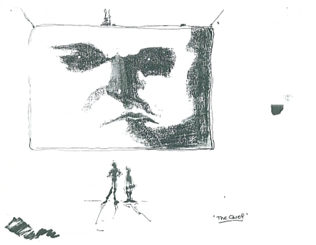 The Chief from Carmen Sandiego as a big floating screen drawn by Bill Sienkiewicz
