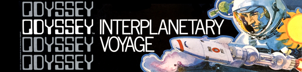 A box for Odyssey Interplanetary Voyage with a large spaceman looking over a small spaceship.