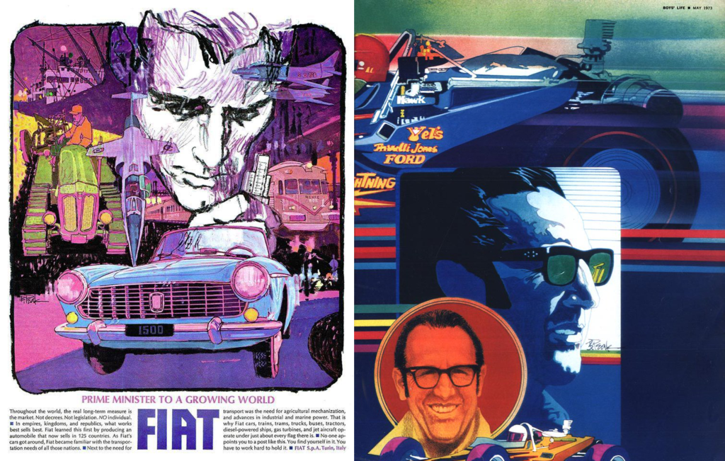 Fiat ad by Bob Peak next to a magazine illustration by Bob Peak from Boy's Life.
