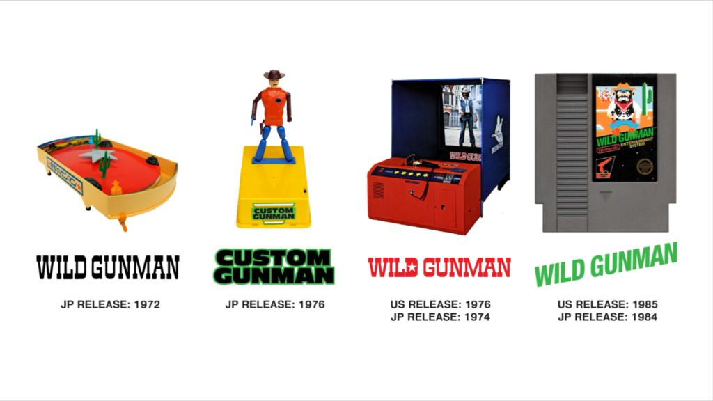 "Labeled images of four Nintendo ""Gunmans"": Wild Gunman toy (1972), Custom Gunman toy (1976), Wild Gunman arcade (74/76), Wild Gunman NES (84/85)."