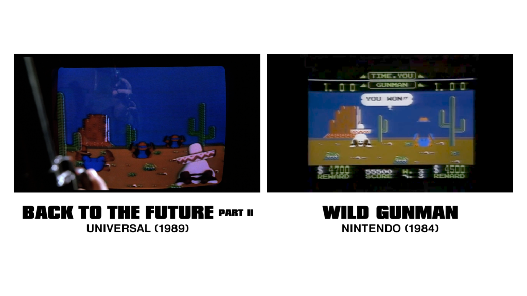 A comparison of the Back To The Future on-screen footage to the Famicom/NES release. The former is missing all the UI elements and features twice as many enemies on screen.
