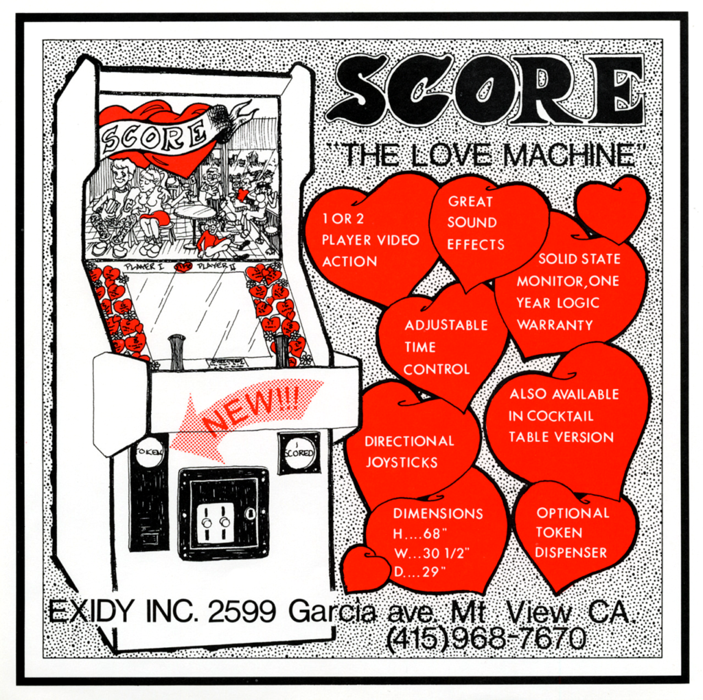 A whimsical illustration of an arcade cabinet, with hearts that describe basic functionality.