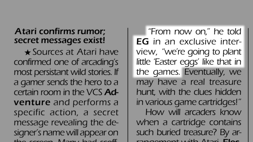 """A page from a magazine. The highlighted text says """"From now on, he told EG in an exclusive interview, we're going to plant little Easter Eggs like that in the games."""""""
