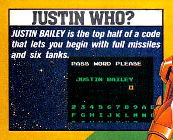 """A crop from a magazine that shows a screenshot of the password screen, with the caption: """"Justin Who? Justin Bailey is the top half of a code that lets you begin with full missiles and six tanks."""""""