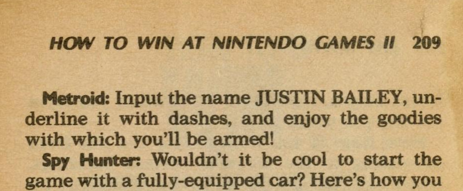"""A crop from a book says: """"Metroid: Input the name Justin Bailey, underline it with dashes, and enjoy the goodies with which you'll be armed!"""""""