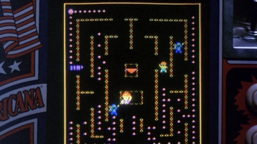 A scene from Joysticks showing game play of Stripper. The colors are slightly different from either the Japan or MAME versions.