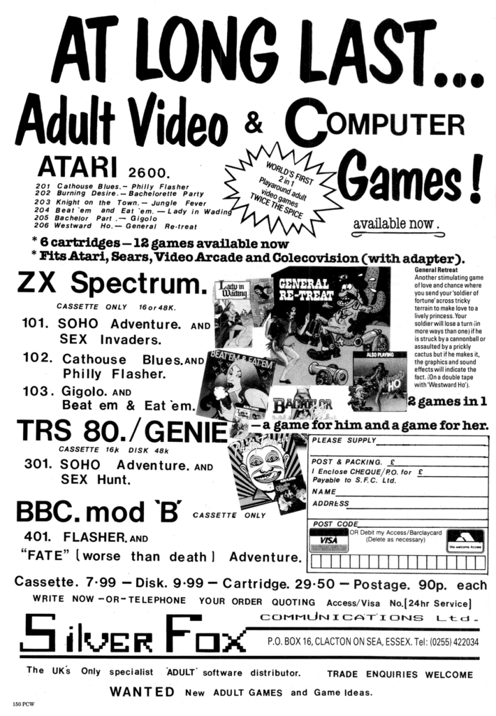 """An ad for UK software seller Silver Fox Communications showing a wide variety of software including """"At long last...adult video & computer games!"""""""