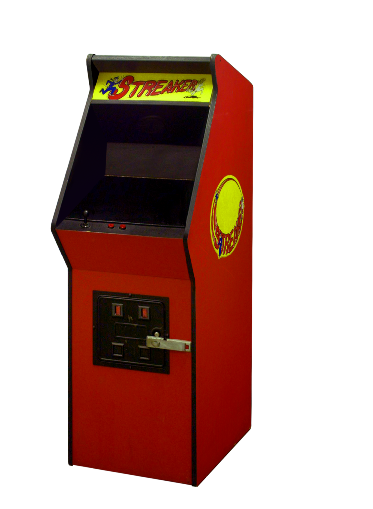 A red Streaker cabinet with yellow marquee and side art.