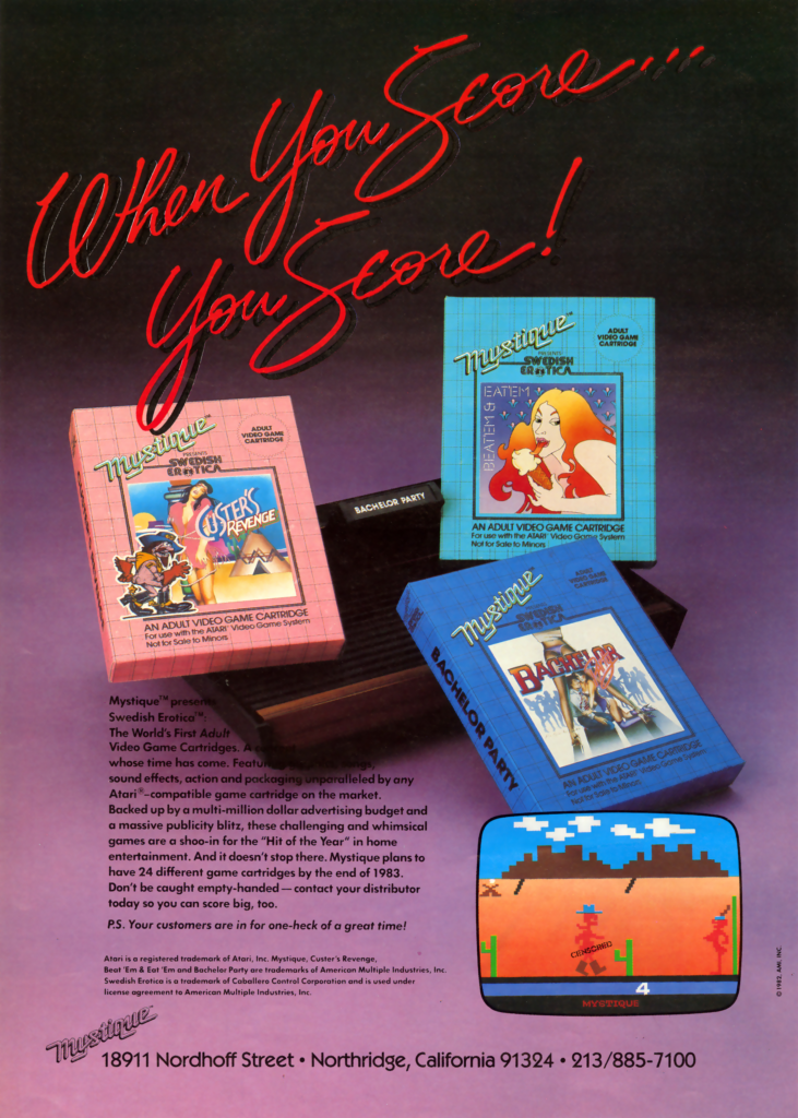 """An ad for Mystique games with the headline """"When you score...you score!"""""""