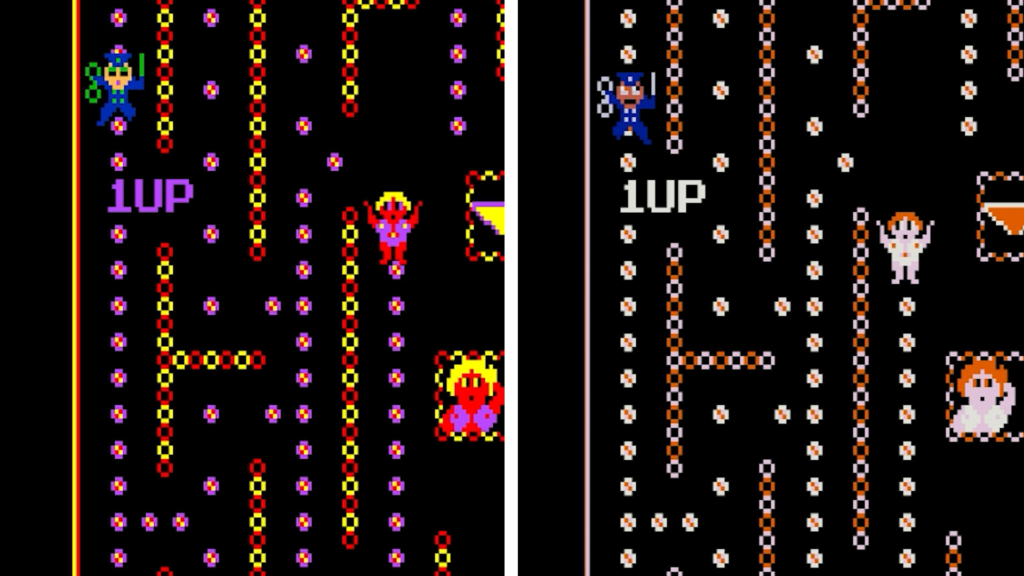 Two screenshots of Streaking side-by-side, one with red, yellow, blue, orange, and purple, the other with only orange, blue, and white.